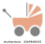 baby carriage halftone vector...   Shutterstock .eps vector #1069848242