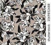 seamless flowers pattern. hand... | Shutterstock . vector #1069852688