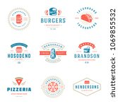 fast food logos set vector... | Shutterstock .eps vector #1069855532