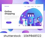 landing page template of online ... | Shutterstock .eps vector #1069868522