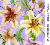 Stock photo beautiful lily flowers with green leaves on lilac background seamless floral pattern watercolor 1069874318