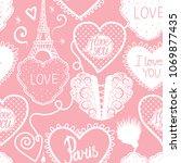seamless pattern of hearts hand ... | Shutterstock .eps vector #1069877435