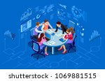 isometric people team... | Shutterstock . vector #1069881515