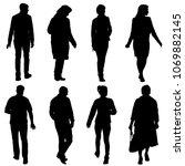 black silhouette group of... | Shutterstock .eps vector #1069882145