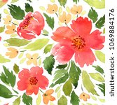 Stock photo seamless watercolor floral pattern loose flowers painting 1069884176