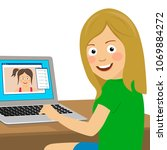 cute teenager girl chatting... | Shutterstock .eps vector #1069884272