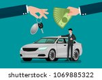 the car dealer's hand make an... | Shutterstock .eps vector #1069885322