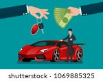 the car dealer's hand make an... | Shutterstock .eps vector #1069885325
