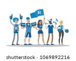 football fans with blue. team... | Shutterstock .eps vector #1069892216