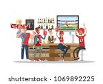 football fans in bar with fans... | Shutterstock .eps vector #1069892225