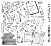 school stationary hand drawn... | Shutterstock .eps vector #1069913768