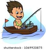 cartoon white cute flat... | Shutterstock .eps vector #1069920875