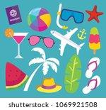summer vector banner. summer set | Shutterstock .eps vector #1069921508