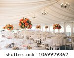 orange peonies roses white... | Shutterstock . vector #1069929362