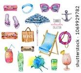 summer holiday watercolor...   Shutterstock . vector #1069929782