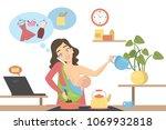isolated multitasking mother... | Shutterstock .eps vector #1069932818