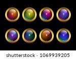 vector eps 10 round golden... | Shutterstock .eps vector #1069939205