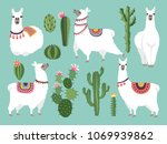 illustrations of funny llama.... | Shutterstock .eps vector #1069939862