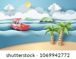 paper art of red boat at beach  ... | Shutterstock .eps vector #1069942772