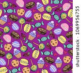 seamless pattern with macaroons ... | Shutterstock .eps vector #1069956755