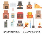 indoors and outdoors fireplaces ... | Shutterstock .eps vector #1069963445
