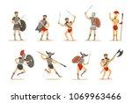 gladiators of roman empire era... | Shutterstock .eps vector #1069963466