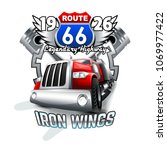 vintage truck  route 66 logo.   Shutterstock .eps vector #1069977422