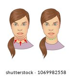 woman with and without double... | Shutterstock .eps vector #1069982558