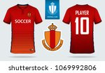 red orange stripe soccer jersey ... | Shutterstock .eps vector #1069992806