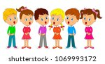 kids boys and girls are singing ... | Shutterstock .eps vector #1069993172