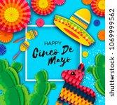 happy cinco de mayo greeting... | Shutterstock .eps vector #1069999562