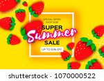 red strawberry super summer... | Shutterstock .eps vector #1070000522