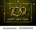 2019 happy new year background... | Shutterstock .eps vector #1070003945
