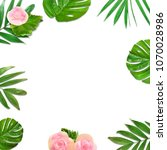 creative layout of foliage on a ... | Shutterstock . vector #1070028986
