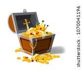 old pirate chest full of...   Shutterstock .eps vector #1070041196