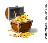 old pirate chest full of...   Shutterstock .eps vector #1070041202