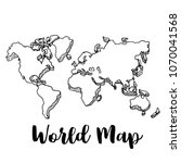 hand drawn world map sketch... | Shutterstock .eps vector #1070041568