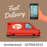 delivery service by van. car... | Shutterstock . vector #1070063522