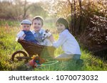 three children  boy brothers in ... | Shutterstock . vector #1070073032