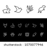 animal icon set and dinosaur...