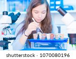 a student in the class of botany | Shutterstock . vector #1070080196