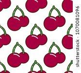 seamless pattern cherries fruit ...   Shutterstock . vector #1070081096
