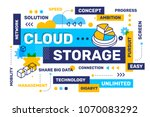 cloud storage concept on white... | Shutterstock .eps vector #1070083292