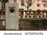 Small photo of Grenoble, France, March 29, 2018 : Memorial to Henri - Beyle Stendhal near school in Grenoble, France