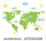 weather symbols on world map... | Shutterstock .eps vector #1070101208