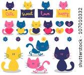 cute little kittens romantic... | Shutterstock .eps vector #107010332