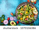for healthy eating  salad with... | Shutterstock . vector #1070106386