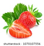 strawberry half isolated on... | Shutterstock . vector #1070107556