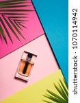 top view of bottle of perfume... | Shutterstock . vector #1070114942
