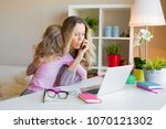 workaholic mom too busy at work ... | Shutterstock . vector #1070121302